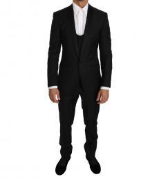 Dolce & Gabbana Black Wool Martini 3 Piece Slim Suit