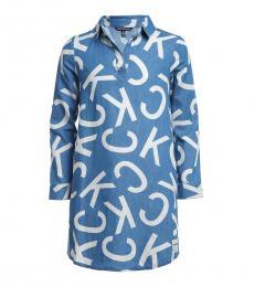 Calvin Klein Girls Blue All Over Logo Dress