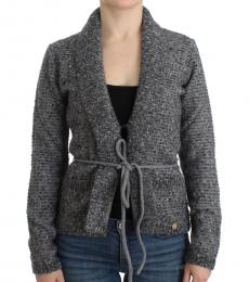 Cavalli Class Grey Wool Knitted Cardigan