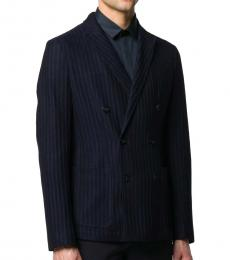 Navy Blue Striped Double-Breasted Blazer