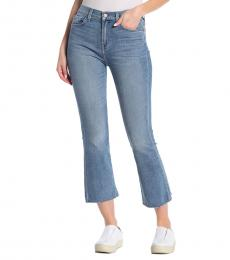 Light Blue High-Rise Crop Flared Jeans