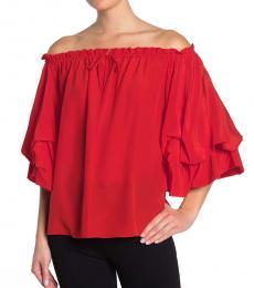 Diane Von Furstenberg Red OffShoulder Silk Top