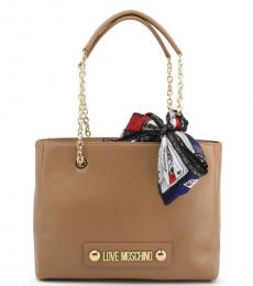 Love Moschino Brown Scarf Medium Tote