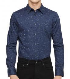 Calvin Klein Speckled Blue Paisley Dot Button-Down Shirt