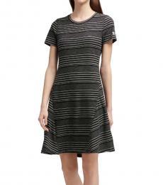 DKNY Black Striped Rib Knit Dress