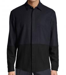 Karl Lagerfeld Navy Colorblock Wool-Blend Jacket
