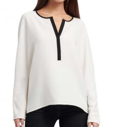 White Long Sleeve Split Neck Top