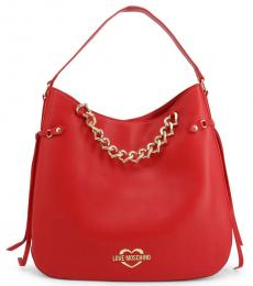 Love Moschino Red Chain Large Hobo