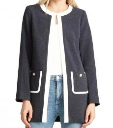 Navy Blue Faux Pearl Button Jacket