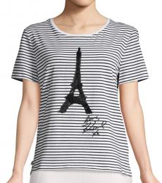 Karl Lagerfeld Black White Sequined Eiffel Tower Tee