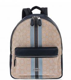 Coach Light Khaki Charlie Stripe Medium Backpack