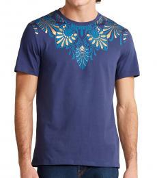 Navy Graphic Neck T-Shirt