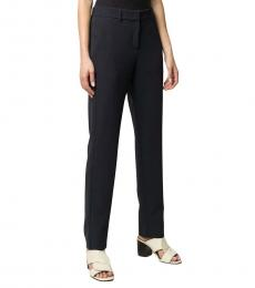 Navy Blue  Wool Blend High-Waisted Slim Fit Trousers