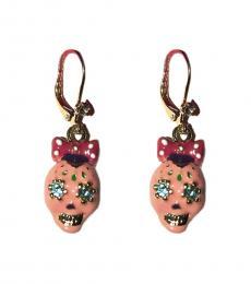 Pink Skull Bow Earrings