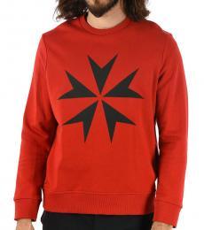 Red Maltese Cross Printed Sweatshirt