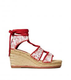 Tory Burch Red Printed Lace Up Wedges