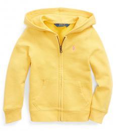 Ralph Lauren Little Girls Yellow Cotton-Blend-Terry Hoodie