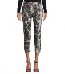 Black Printed Linen Capri Pants