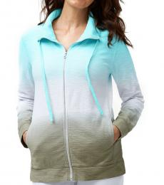 Aqua Ombre Tie-Dye Jacket