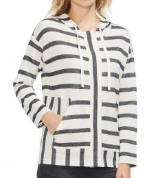 Vince Camuto White Striped Hoodie Top