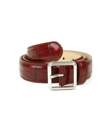 Balenciaga Burgundy Stamped Leather Belt