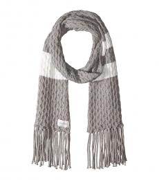 Calvin Klein Heather Mid Grey Striped Cable Scarf