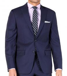 Dark Blue Modern-Fit Plaid Jacket