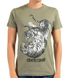 Roberto Cavalli Grey Graphic Crewneck T-Shirt