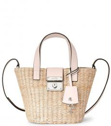 Ralph Lauren Natural/Mellow Pink Structured Straw Reese Mini Tote