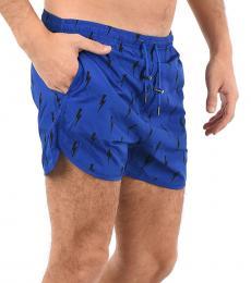 Neil Barrett Royal Blue Printed Boxer Beachwear