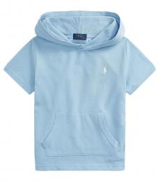 Ralph Lauren Little Boys Powder Blue Mesh Hooded T-Shirt