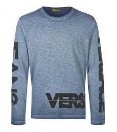 Versace Jeans Light Blue Logo Long Sleeve T-Shirt