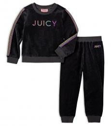 Juicy Couture 2 Piece Sweatshirt/Joggers Set (Little Girls)