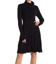 Calvin Klein Black Cowl Neck A-Line Sweater Dress