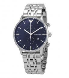 Emporio Armani Silver Chronograph Logo Watch