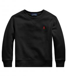 Ralph Lauren Little Boys Black Cotton-Blend-Fleece Sweatshirt