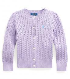Little Girls English Purple Heather Mini-Cable Cardigan
