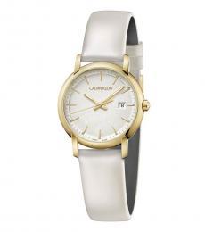Calvin Klein White Gold Logo Watch