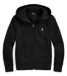 Ralph Lauren Boys Black Double-Knit Full-Zip Hoodie