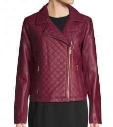 Cherry Quilted Moto Jacket