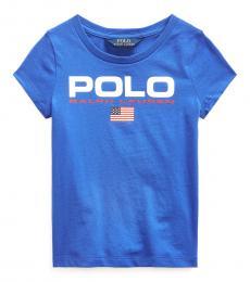 Ralph Lauren Little Girls Cruise Royal Graphic T-Shirt