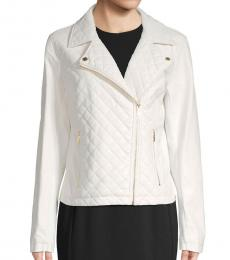 White Quilted Moto Jacket