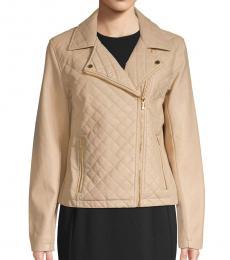 Calvin Klein Beige Quilted Moto Jacket