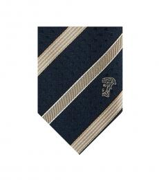 Versace Navy Beige Striped Tie