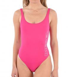 Diesel Pink Printed Logo Swimsuit