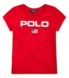 Ralph Lauren Girls Red Graphic T-Shirt
