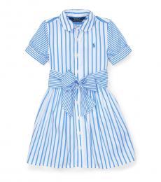 Ralph Lauren Little Girls Blue Striped Shirtdress