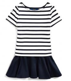 Ralph Lauren Little Girls Navy-Cream Striped Stretch Ponte Dress