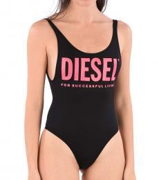 Diesel Black Printed Logo Swimsuit