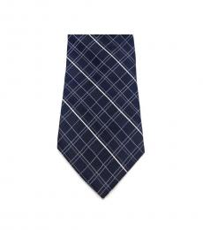 Michael Kors Black Neat Plaid Slim Silk Tie